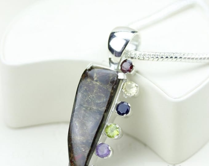 Multistone GENUINE Canadian AMMOLITE 925 Solid Sterling Silver Pendant + 4mm Snake Chain & FREE Worldwide Shipping P1606