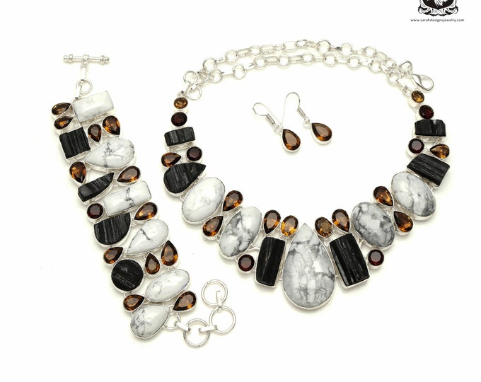 White Buffalo Turquoise TOURMALINE Smokey Quartz 925 Sterling Silver + Copper Bonded Necklace Bracelet & Earrings ALL Included SET557