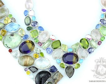 AMETRINE AGATE PERIDOT 925 Solid Sterling Silver Necklace Set 158