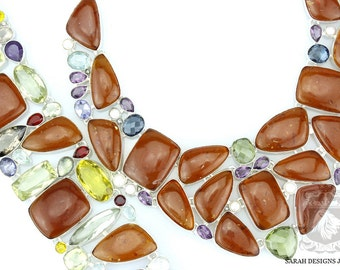 Knockout BALTIC Amber PRASIOLITE CITRINE 925 Solid Sterling Silver Necklace Set 37