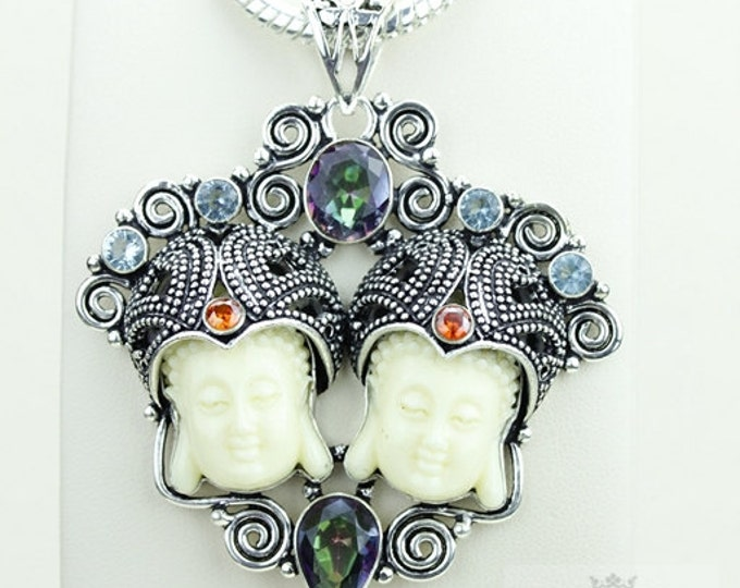 Harmonized Creation! Kwan Yin Guanyin BUDDHA Goddess Face Moon Face 925 S0LID Sterling Silver Pendant + 4MM Chain & Free Shipping p3794