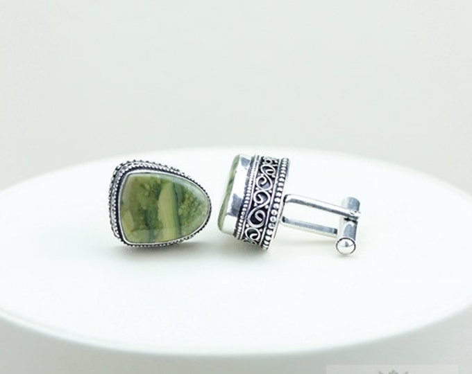 RHYOLITE Rainforest Jasper Vintage Filigree Antique 925 Fine S0LID Sterling Silver Men's / Unisex CUFFLINKS k84