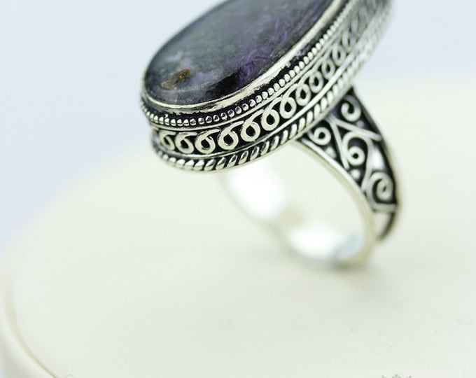 SIZE 9 Russian CHAROITE 925 S0LID (Nickel Free) Sterling Silver Vintage Setting Ring  r1881