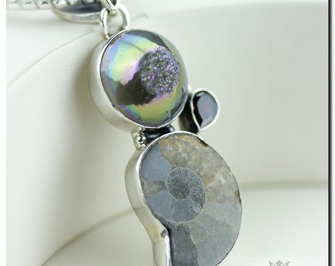 Jurassic Ammonite Fossil Midnight Titanium Druzy Drusy 925 SOLID Sterling Silver Pendant & 4mm Snake Chain + FREE Worldwide Shipping