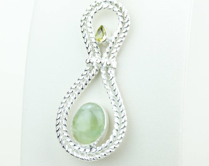 Unique Design Prehnite 925 S0LID Sterling Silver Pendant + 4MM Snake Chain & Worldwide Shipping p4089