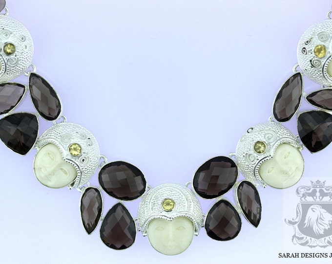 Gorgeous Carved Face Smokey Topaz 925 SOLID Sterling Silver Necklace