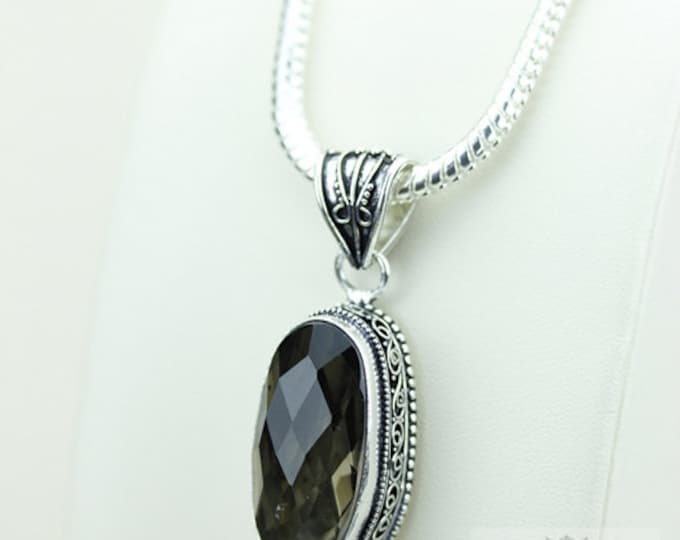 Smoky Topaz Vintage Filigree Setting 925 S0LID Sterling Silver Pendant + 4mm Snake Chain & FREE Shipping p3351