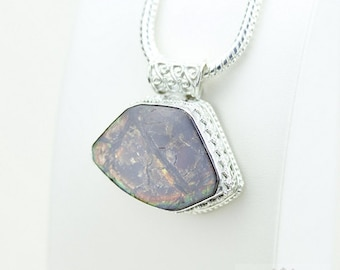 Chunky! GENUINE Canadian AMMOLITE 925 Solid Sterling Silver Pendant + 4mm Snake Chain & FREE Worldwide Shipping p1997