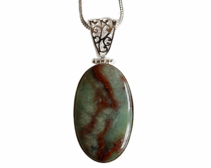 Boulder Chrysoprase Vintage Antique 925 Sterling Silver + BONDED Copper Pendant Snake Chain & Worldwide Shipping p4422