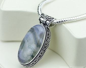 Australian Moss Agate VINTAGE Style Setting 925 S0LID Sterling Silver Pendant + 4MM Snake Chain & FREE Worldwide Shipping P3234