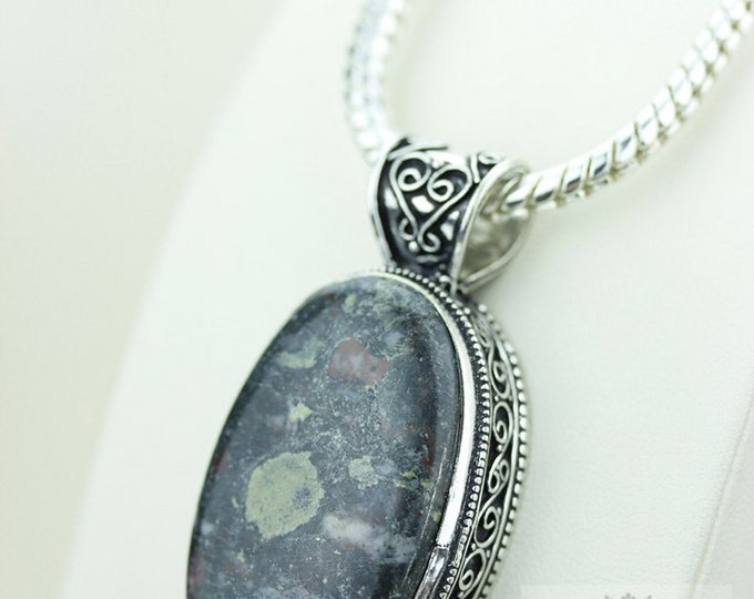 CRINOID FOSSIL VINTAGE Style 925 Solid Sterling Silver Pendant & Free Worldwide Shipping p2280