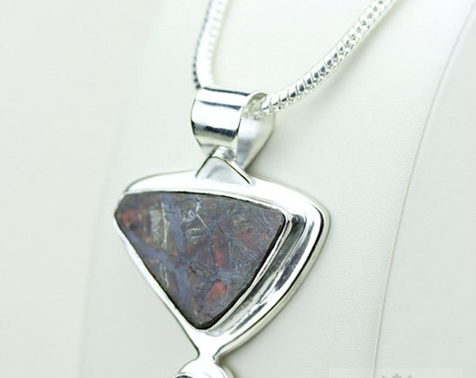 Mystic Topaz GENUINE Canadian AMMOLITE 925 Solid Sterling Silver Pendant + 4mm Snake Chain & Worldwide Shipping P1575