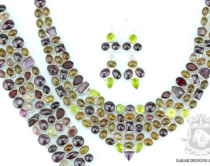 Great Combo WATERMELON TOURMALINE 925 Solid Sterling Silver Necklace Set 120