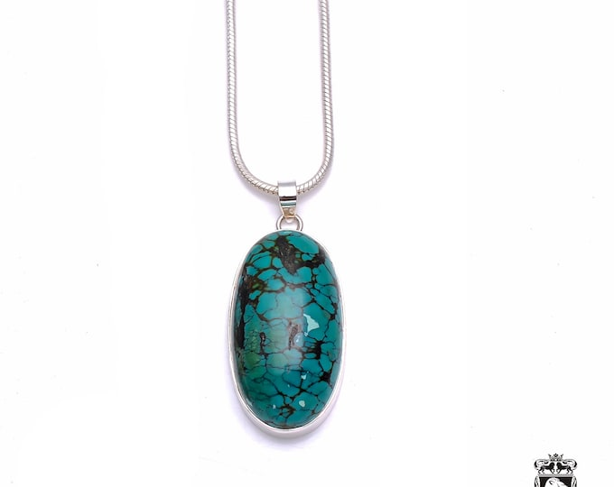 Thick and Heavy! 2.9 Inch Genuine TIBETAN TURQUOISE Fine 925+ 975 S0LID Sterling Silver Pendant + Snake Chain P6230