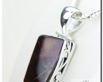 Filigree Antique Setting! GENUINE Canadian AMMOLITE 925 Solid Sterling Silver Pendant + 4mm Snake Chain & FREE Worldwide Shipping P1999