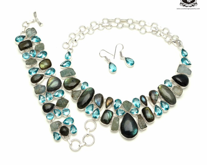 Yes Sir, this is the one! LABRADORITE Aquamarine 925 Sterling Silver + Copper Bonded Necklace Bracelet & Earrings ALL Included SET564