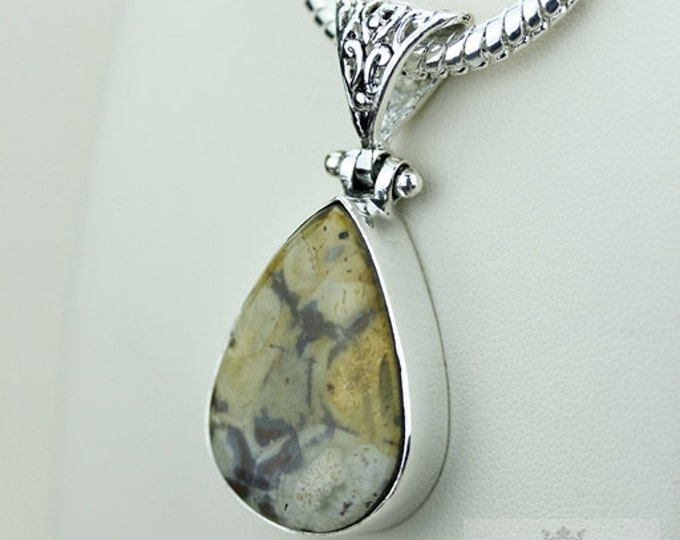 Mexican Birds Eye Jasper (Genuine) 925 S0LID Sterling Silver Pendant + 4MM Snake Chain  p3557