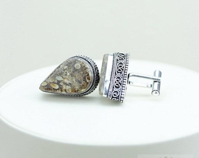 Turritella Jasper Agate Fossil Vintage Filigree Antique 925 Fine S0LID Sterling Silver Men's / Unisex CUFFLINKS K122