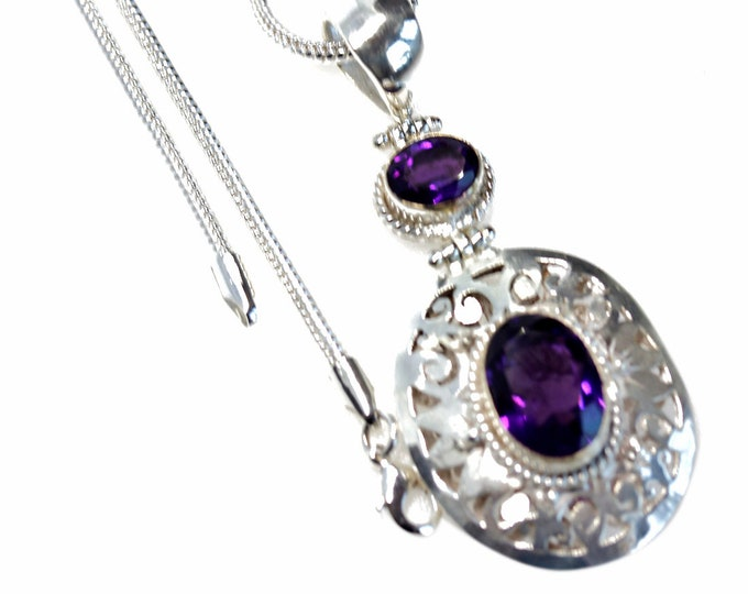 Filigree Oval Cut Amethyst Vintage Antique 925 Sterling Silver + BONDED Copper Pendant Snake Chain & Worldwide Shipping p4588