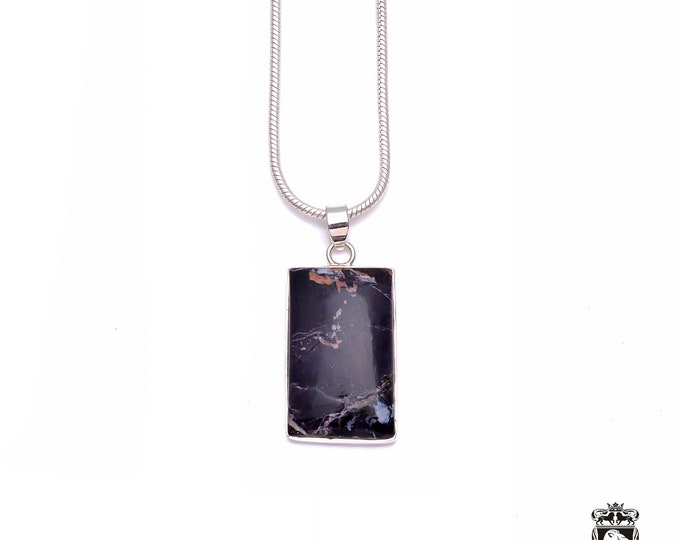 Rectangle Shaped (with rounded corners) Canadian SODALITE Fine 925+ 975 S0LID Sterling Silver Pendant + Snake Chain P6235