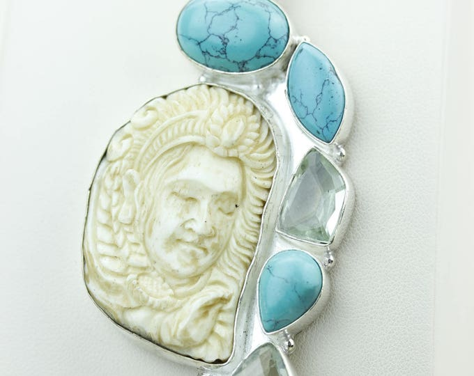 CHIEF SEQUOYAH TOTEM Green Amethyst Goddess Face Moon Face Bone Carving 925 S0LID Sterling Silver Pendant + 4MM Chain p4283