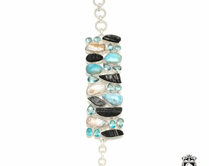 Passionate Desires! LARIMAR Tourmaline Pearl 925 Sterling Silver + Copper Bonded Bracelet & Worldwide Express Tracked Shipping B3323