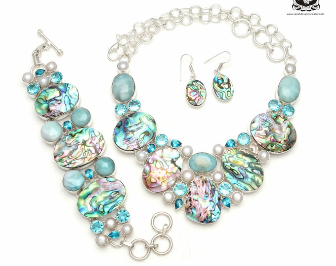 The Best Deal! ABALONE Shell LARIMAR 925 Sterling Silver + Copper Bonded Necklace Bracelet & Earrings ALL Included SET589