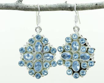 Swiss Blue Topaz 925 SOLID (Nickel Free) Sterling Silver Italian Made Dangle Earrings e653