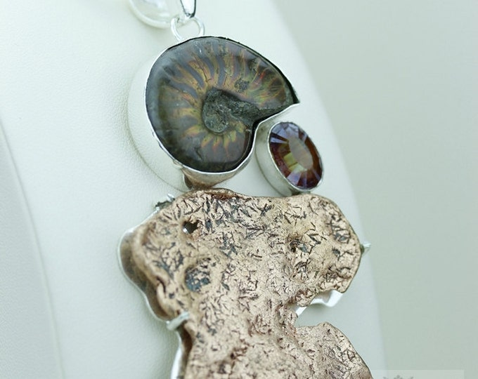 Frey Alberta AMMONITE FLAT HEAVY Copper Nugget 925 S0LID Sterling Silver Pendant + 4mm Snake Chain & Free Worldwide Express Shipping mp416