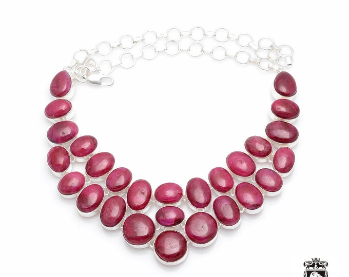 Stunning Quality AAA Grade Sri-Lanka RUBY CABOCHON 925 Sterling Silver + Copper Bonded Necklace & Worldwide Express Tracked Shipping N0064
