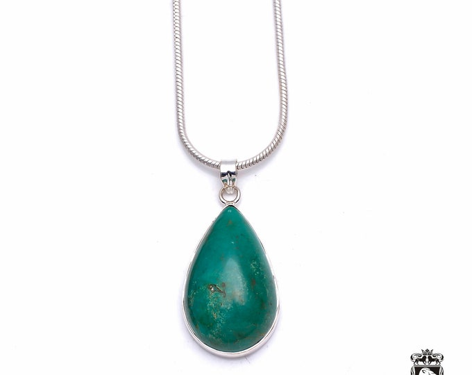 Chrysocolla Azurite Malachite Shattuckite Fine 925+ 975 S0LID Sterling Silver Pendant + Snake Chain P6290
