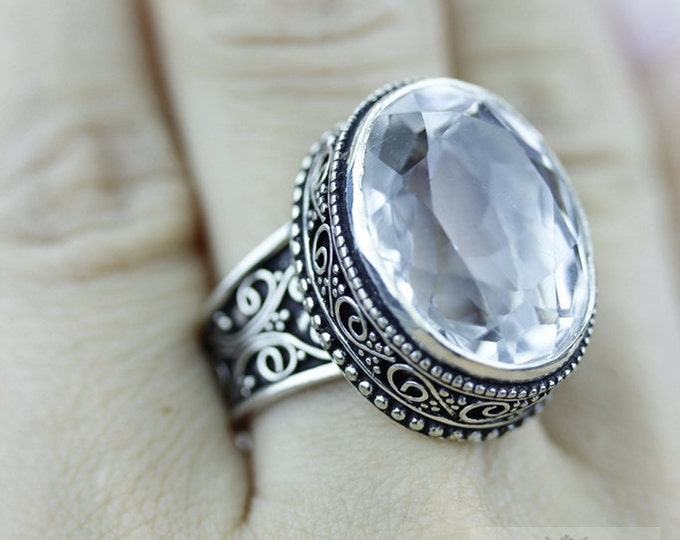 SIZE 7.5 Crystal Quartz 925 S0LID (Nickel Free) Sterling Silver Vintage Setting Ring  r1756