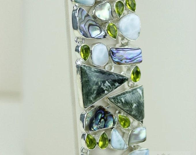 Russian SERAPHINITE LARIMAR ABALONE Peridot 925 Solid Sterling Silver Bracelet + Free Worldwide Shipping b1324