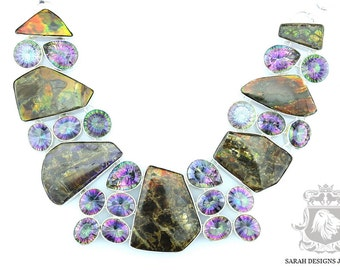 SUPER GLAMOROUS! Mystic Topaz Ammolite 925 Solid Sterling Silver Necklace