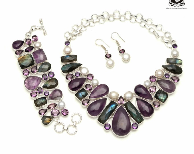 Spend your money on this! AMETHYST Cabochon Pearl 925 Sterling Silver + Copper Bonded Necklace Bracelet & Earrings ALL Included SET562