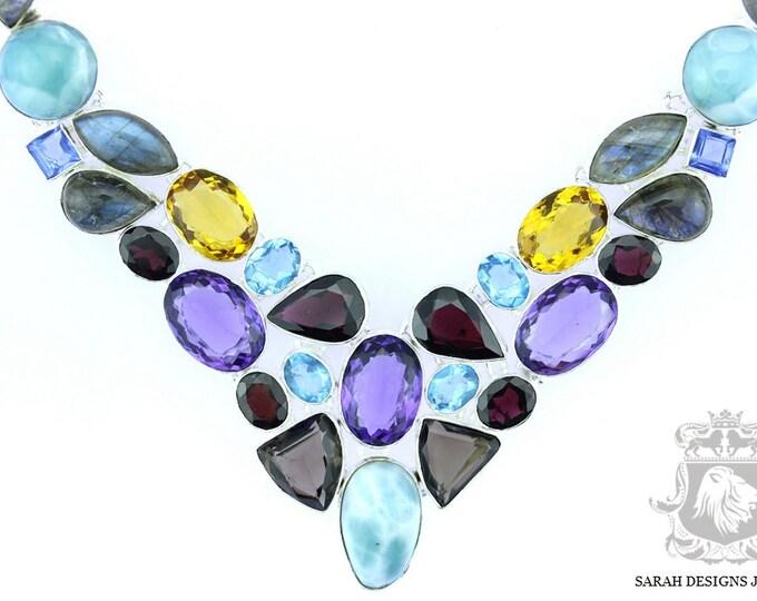 Caribbean Larimar Brazilain Amethyst Aquamarine Citrine 925 SOLID Sterling Silver Necklace