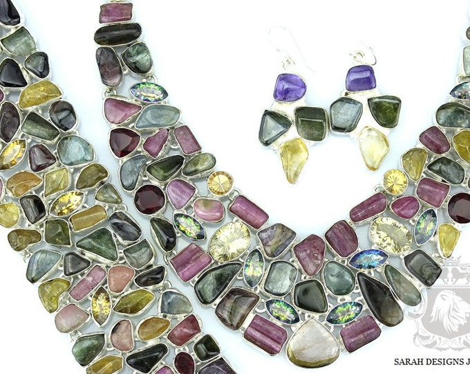 917 Carats COMBINED TOURMALINE 925 Solid Sterling Silver Necklace Set 115