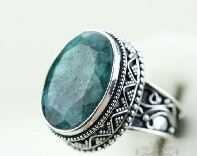 SIZE 9 Emerald Corundum VINTAGE Style 925 S0LID (Nickel Free) Sterling Silver Vintage Setting Ring & FREE Worldwide Shipping r1991