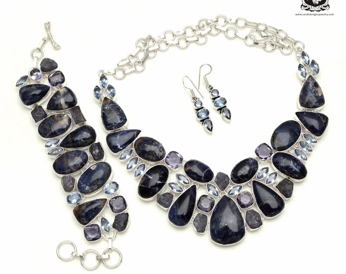 Quality Count! Canadian SODALITE Rough TANZANITE Iolite 925 Sterling Silver + Copper Bonded Necklace Bracelet & Earrings ALL Included SET517