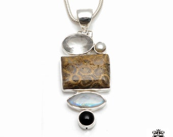 Fossilized Bali Coral Moonstone Clear Quartz Spinel Fine 925+ 975 S0LID Sterling Silver Pendant + Snake Chain P6054