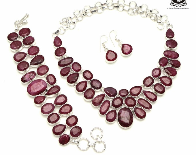 Look Great Wearing This! RUBY Corundum 925 Sterling Silver + Copper Bonded Necklace Bracelet & Earrings ALL Included SET543