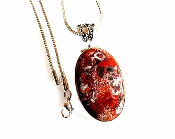 Pyrite Crazy Lace Agate Antique Filigree 925 Sterling Silver + BONDED Copper Pendant Snake Chain & Worldwide Shipping p4426