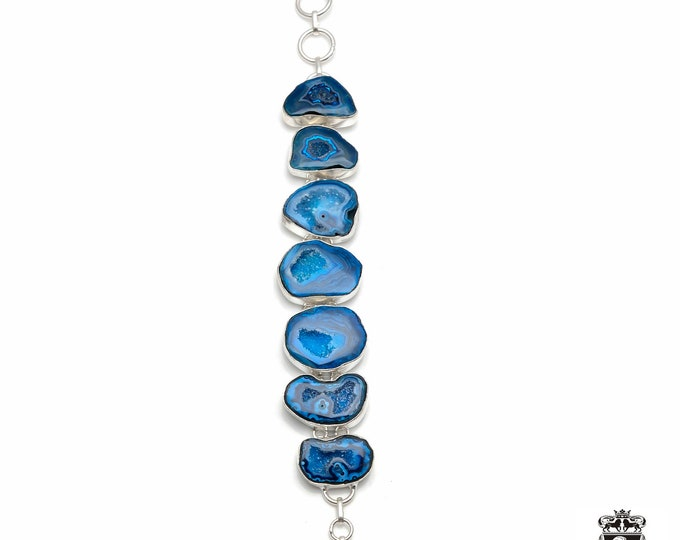 Blue GEODE Agate STALACTITE 925 Sterling Silver + Copper Bonded Bracelet & Worldwide Express Tracked Shipping B3017
