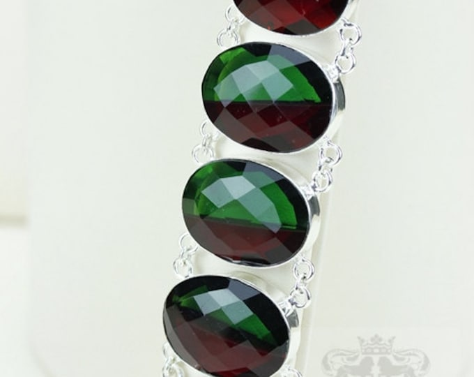 Oval Cut Lab Created TOURMALINE 925 S0LID Sterling Silver Bracelet & FREE Worldwide Express Shipping B1808