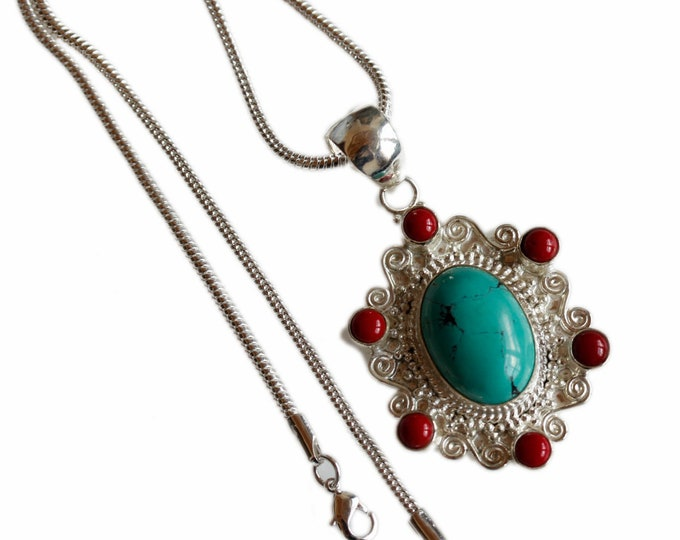 Jewelry Collection Antique Filigree Turquoise Coral 925 Sterling Silver + BONDED Copper Pendant Chain & Worldwide Shipping p4478