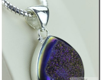 Midnight Moonshine Titanium Window Drusy Druzy 925 SOLID Sterling Silver Pendant + 4mm Snake Chain p1254