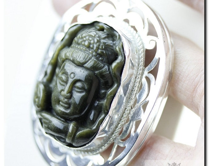 OBSIDIAN Carved Zen BUDDHA 925 Solid Sterling Silver Pendant + 4mm Snake Chain  P2050