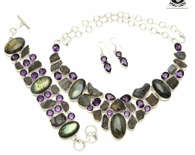 Gotta Have! Canadian LABRADORITE Rough Amethyst Drusy 925 Sterling Silver + Copper Bonded Necklace Bracelet & Earrings ALL Included SET516