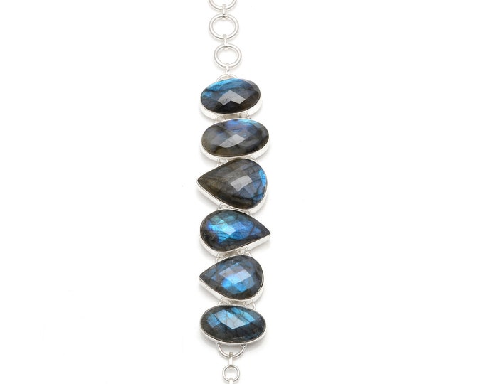 CANADIAN Blue LABRADORITE 925 Sterling Silver + Copper Bonded Bracelet & Worldwide Express Tracked Shipping B3036