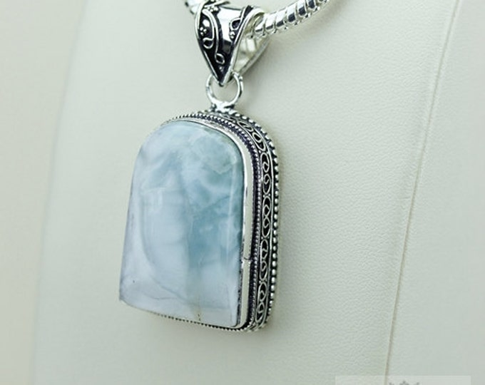 Larimar Vintage Filigree Setting 925 S0LID Sterling Silver Pendant + 4mm Snake Chain & FREE Shipping p3390